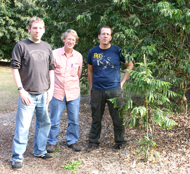 Left to right: Dr. Christian Schulz, Ron Determann , and Patrick Knoft at Montgomery Botanical Center.