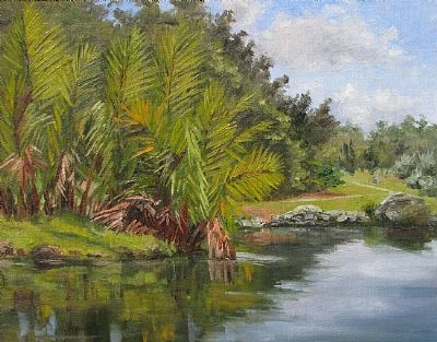 Painting by Linda Apriletti of Nypa palms at Montgomery Botanical Center.